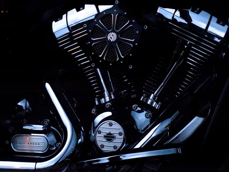 Close-up up a Harley Davidson
